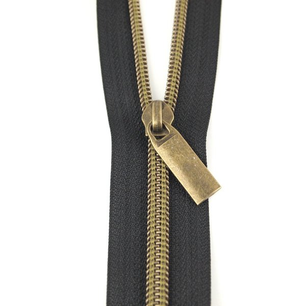Sallie Tomato Zipper no 5 nylon coil by the yard black antique brass lynlaas sort oxyderet messing