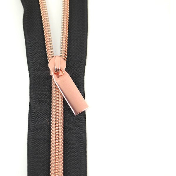 Sallie Tomato Zipper no 5 nylon coil by the yard black rose gold lynlaas sort Rosa guld