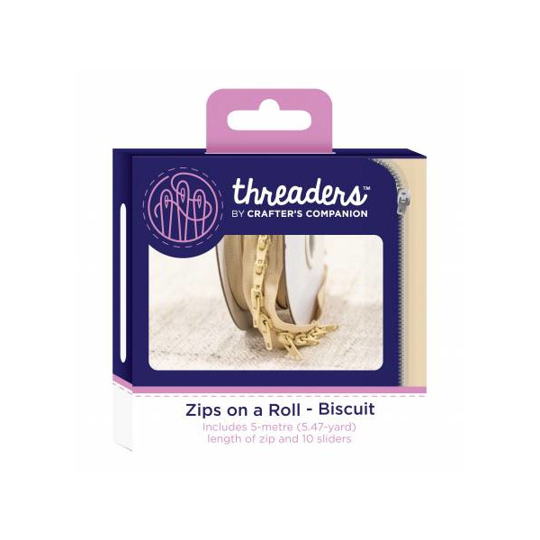 Zips on a roll Lynlås tape Biscuit
