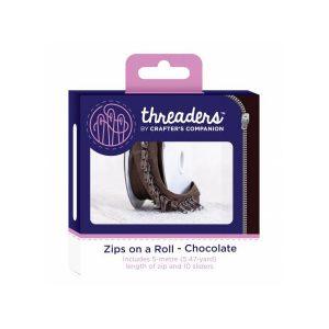 Zips on a roll Lynlås tape Chokolade Brun