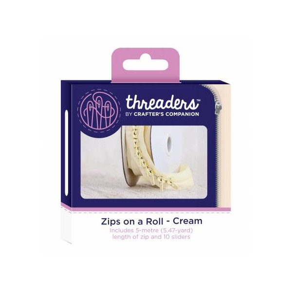Zips on a roll Lynlås tape Creme