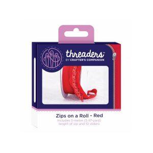Zips on a roll Lynlås tape Rød