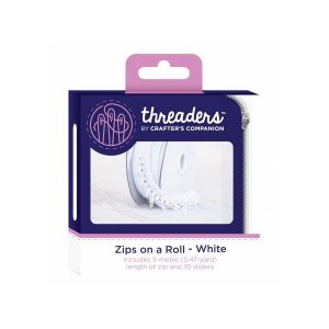 Zips on a roll Lynlås tape hvid