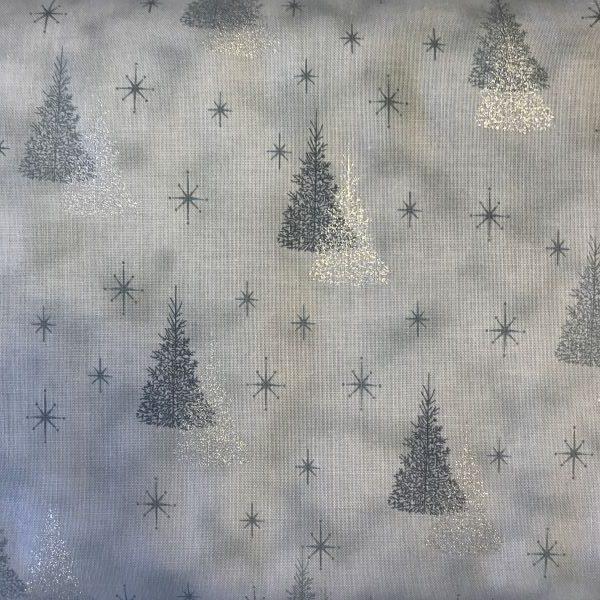 Julestof Lysegrå Sølv patchwork