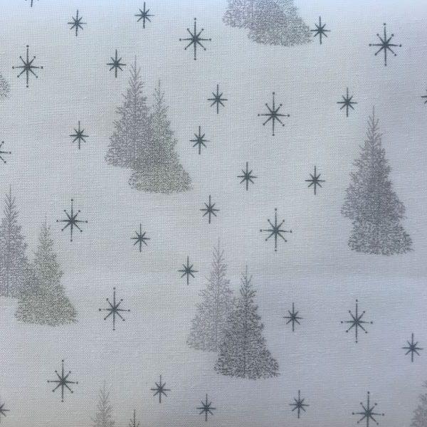 Julestof Hvid Sølv Juletræer