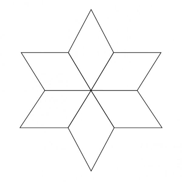 Papskabelon English Paper Piecing Template Rombe 60 grader 6 punkt stjerne 2