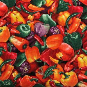 Patchwork stof grøntsager peberfrugt