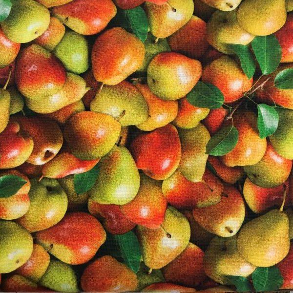 Patchwork stof grøntsager pærer