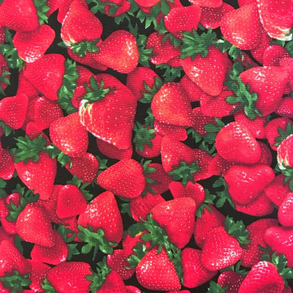Patchworkstof grøntsager frugt jordbær rød