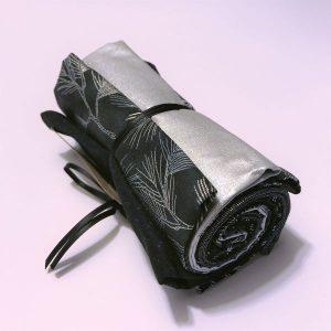 Julebundt patchwork stof sort sølv 2