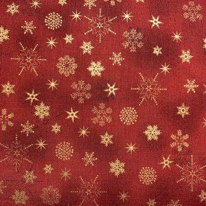Rød m guld iskrystaller