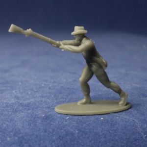 Soldier swings musket forward hat