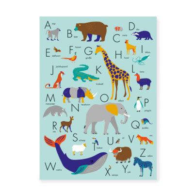ABC Poster dieren alfabet blauw alfabetposter 50x70
