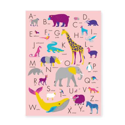 ABC Poster dieren alfabet roze alfabetposter