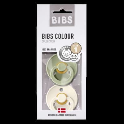 BIBS fopspeen blister T1 0-6 maanden sage / ivory