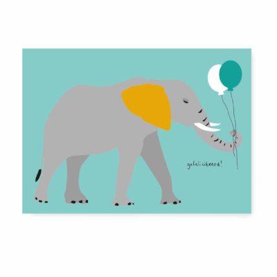 verjaardagskaart kaartje ansichtkaart spek & bonen olifant gefeliciteerd
