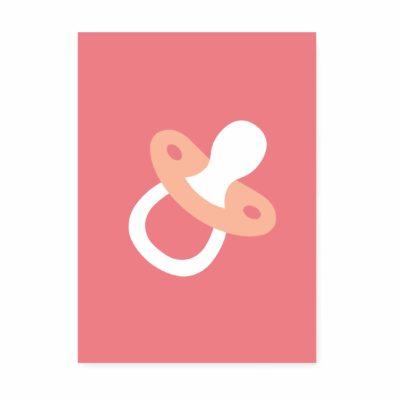 geboortekaartje speen roze. Ansichtkaart geboorte felicitatie.