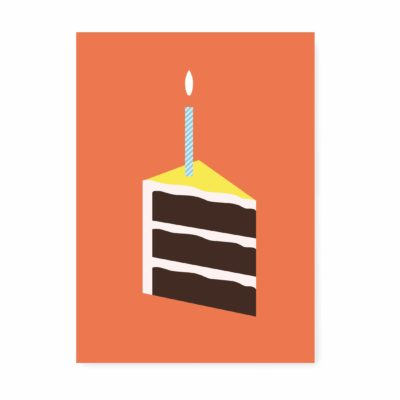 kaartje proficiat taartje oranje. ansichtkaart verjaardagskaart, proficiat, felicitatie, 1 jaar, kaartjes.