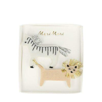 merimeri haarspeldjes zebra & leeuw