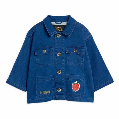 mini rodini strawberry denim jacket