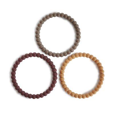 mushie siliconen bijtringen / armband set van 3 berry/marigold/khaki