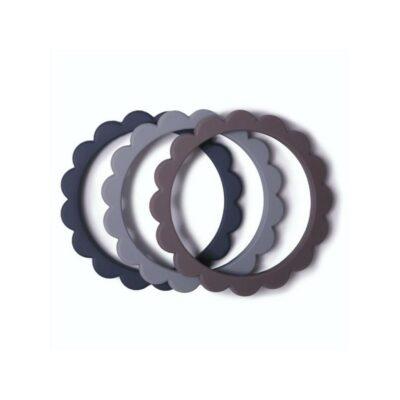 mushie siliconen bijtringen / armband set van 3 steel/D.gray/Stone