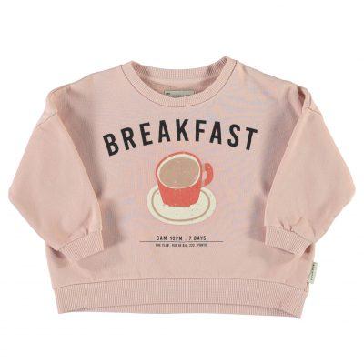 piupiuchick Unisex sweatshirt licht roze met breakfast print