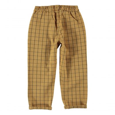Unisex trousers with elastic waist and lateral pockets.