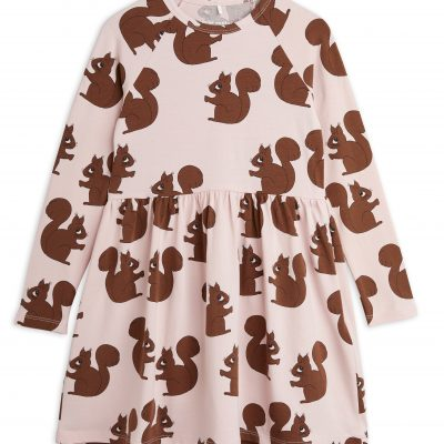 mini rodini Squirrel Long Sleeve Dress pink