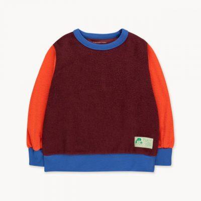 tiny cottons color block sweatshirt deep plum / red