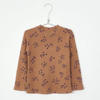 W21-79-12High Neck Tshirt (Textured warm jersey) - ORGANIC COTTON BLUEBERRIES lotiekids