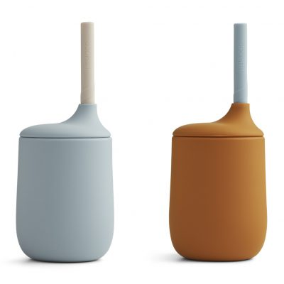 liewood ellis sippy cup - 2 pack Mustard/sea blue mix