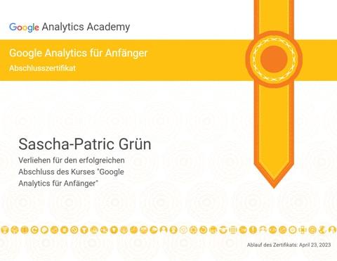 Sascha-Patric Grün - Google Analytics