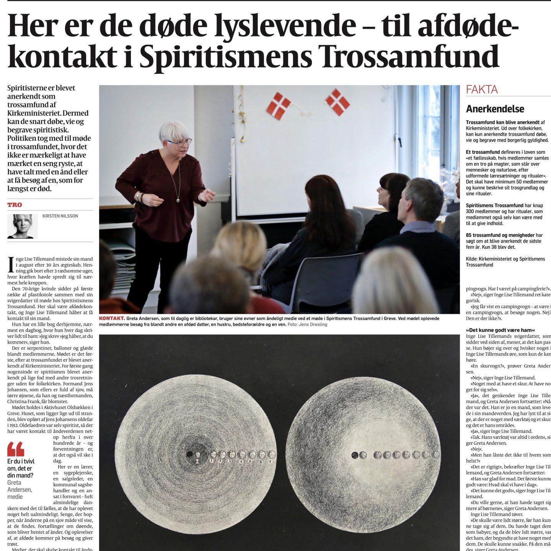 Dagbladet Politikens artikel om Spiritismens Trossamfund