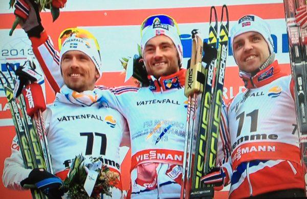 Seierspallen: Olsson, Northug og Gjerdalen. Alle bilder fra Nrk tv