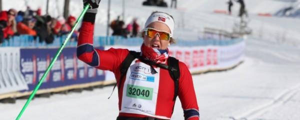 Marte Mæhlum Johansen fra østre Tone Skilag vant en klar seier i eldste jenteklasse, hele 51 sekunder foran nr 2.  Foto: Fra arrangørens hjemmeside www.birkebeiner.no