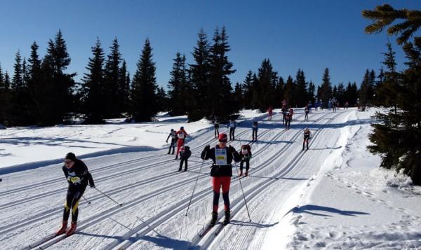 Nydelig vintervær i UngdomsBirken. Her litt etter starten på Sjusjøen fra en av jenteklassene. Foto: Frode Monsen