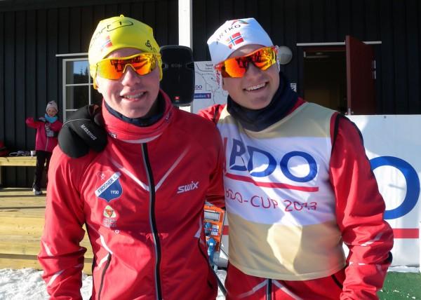 Ivar Ryttervold og Herman Martens Meyer kan smile fornøyd etter det siste rennet i BDO-cupen. Klassekameratene fra Frogner IL tok de to første plassene sammenlagt i BDO-cupen og vant også hver sin gullmedalje i Hovedlandsrennet. Foto: Arnstein Andreassen.