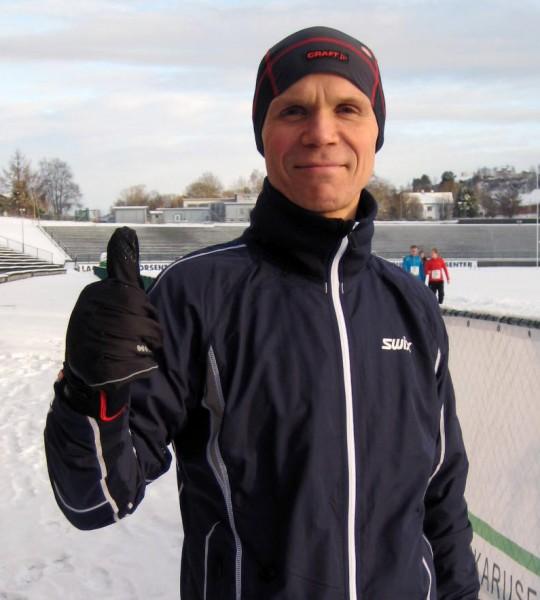 Bjørn Fretland har løpt hele 17 av sine 42 maratonløp fra Fana Stadion. Her før siste løp i Maratonkarusellen i desember i fjor.