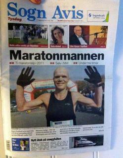 Forside fra lokalavisen Sogn Avis i 2011.