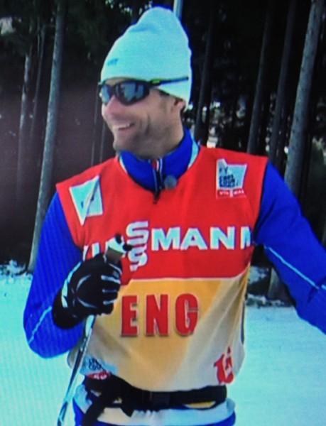 Thomas Alsgaard i aksjon for NRK under Tour de Ski.