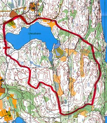 Løypekart for Ulsrudvannet Rundt