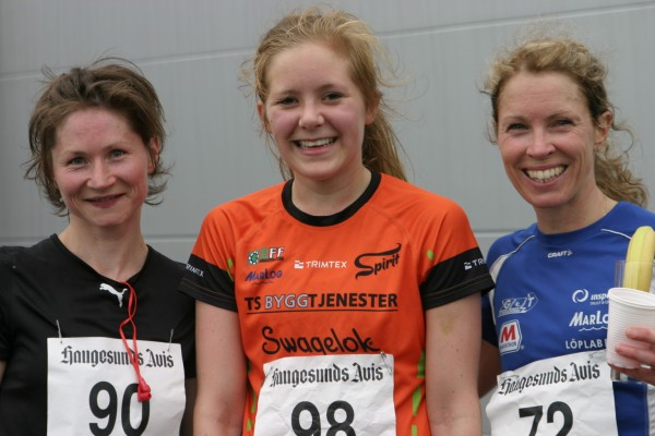 De 3 beste i dameklassen: Janne Elin Vatnaland, Spirit 1.26.44 (i midten), Maryna Novik, Klypetussen, 1.27.19 og Elise Hay Opsahl, GTI 1.28.27. Foto: hjemmesiden til Spirit.