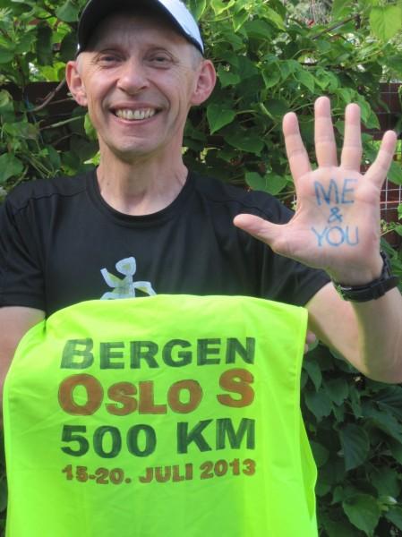 Erik Nossum er ved godt mot etter to dagers løping. Men regnet har vanskeliggjort fotograferingen... Foto tilsendt av Erik Nossum