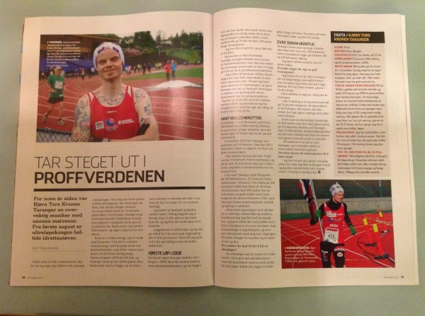"""To sider om """"proffen"""" i siste utgave av runners world. det er fint at de også har fått øynene opp for Sportsmandens ultrablogger.  Foto: Bjørn Tore Kronen Taranger"""