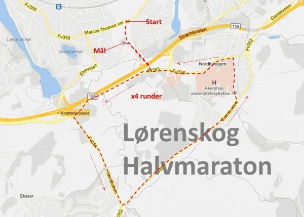 Løypekartet, 4 x 5 km + 1,1 km start/mål (21,1 km)