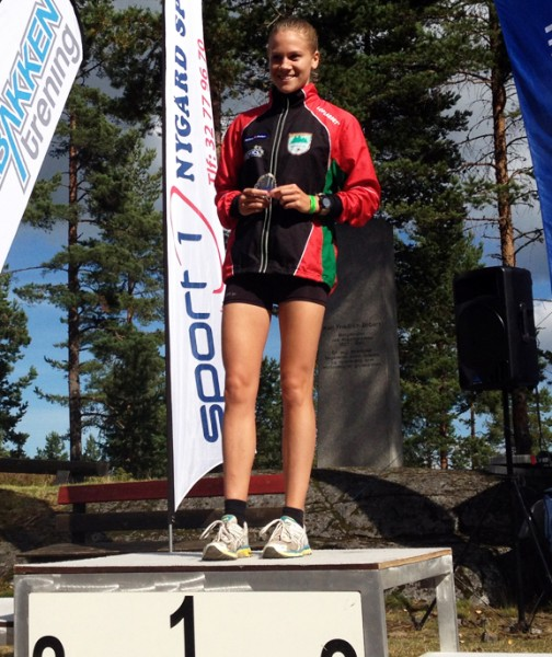 Heidi Mårtensson kunne klatre til topps på seierspallen i Nordisk mesterskap i terrengløp for juniorer, som hun gjorde her under Koboltgruvene Opp i sommer. (Foto: Frode Monsen)