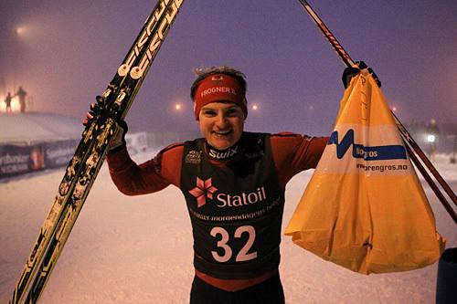 Herman Martens Meyer jubler etter sprintseier fredag kveld. (Foto: Bjørn Martens Meyer)