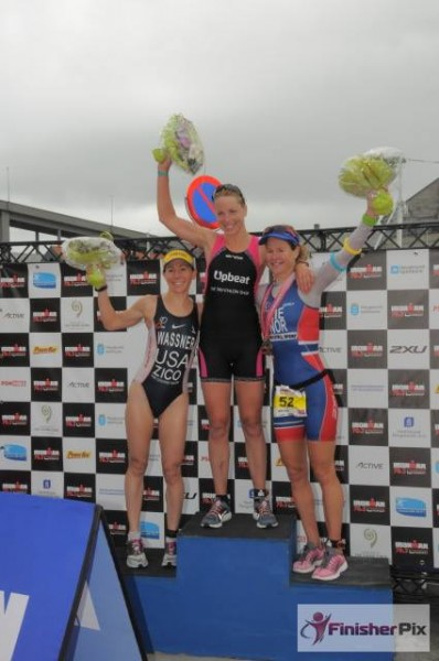 De tre beste damene i IronMan 70.3.Haugesund, med NM-vinner Kristin Lie på bronseplass totalt. (Foto: Fra bloggen)