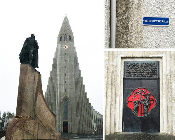 Hallgrímskirkja og oppdageren Leiv Eriksson. Statuen ble gitt i gave fra USA i forbindelse med Alltingets 1000-årsjubileum. De var nok takknemlige for at han oppdaget Nord-Amerika. (c;